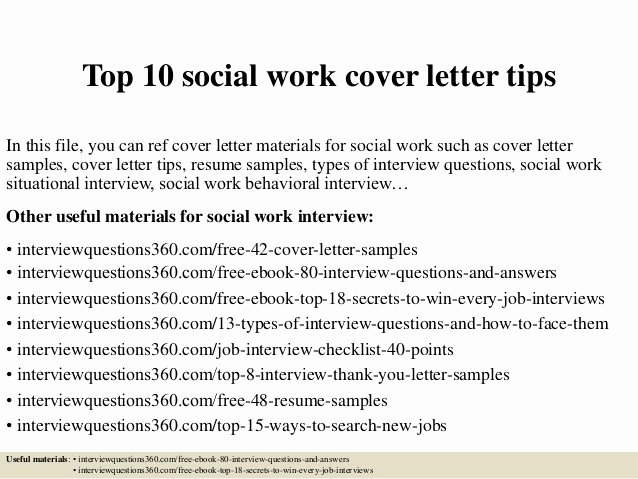Social Worker Cover Letter Template Unique top 10 social Work Cover Letter Tips
