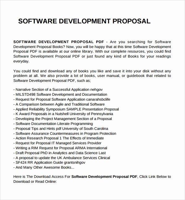 Software Development Proposal Template Luxury Sample software Development Proposal Template 7 Free