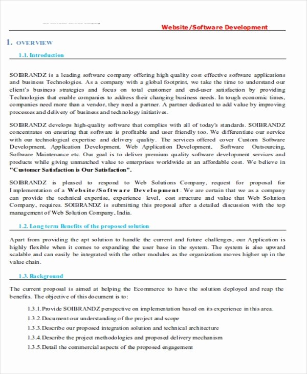 Software Development Proposal Template New 12 software Project Proposal Examples Pdf Word