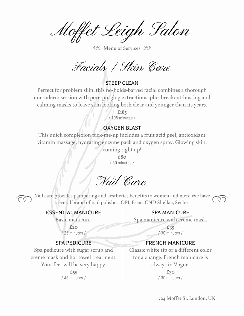 Spa Menu Template Free Best Of Spa and Salon Menu Designs From Imenupro More Than Just