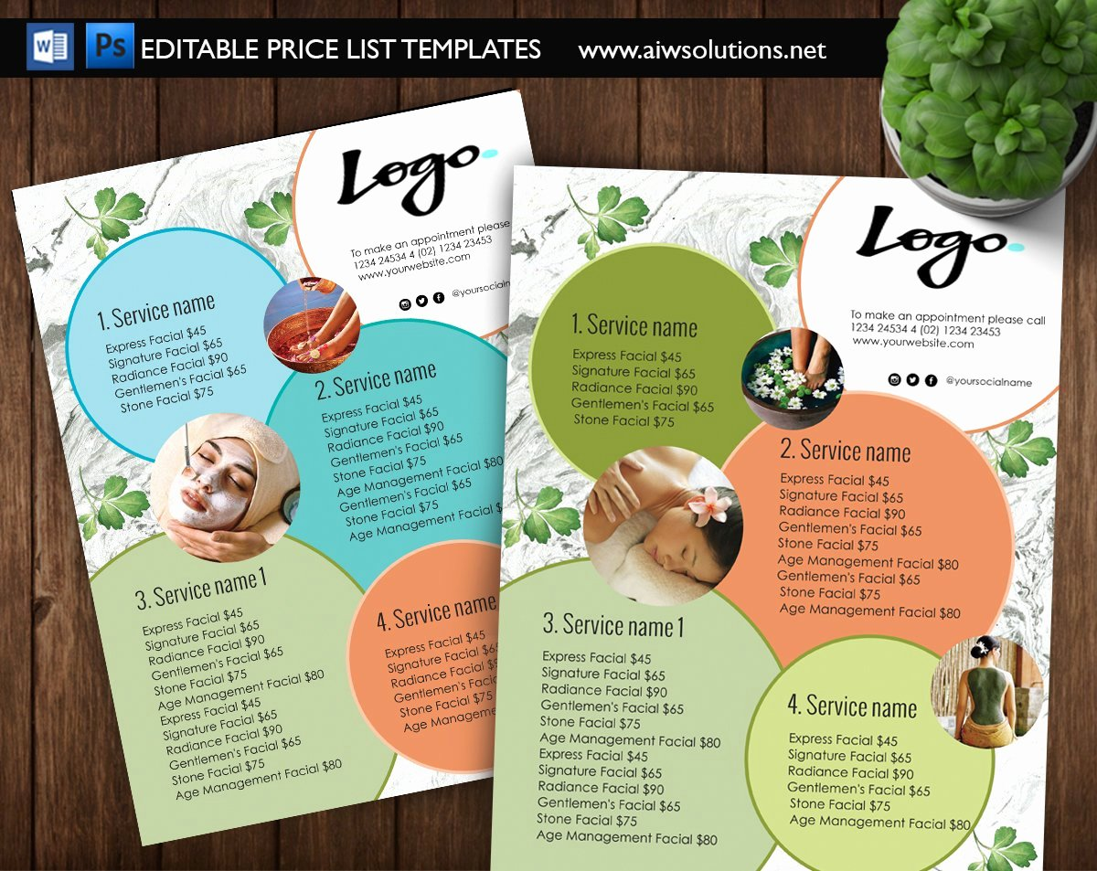 Spa Menu Template Free Best Of Spa Menu Price List Id09 Flyer Templates Creative Market