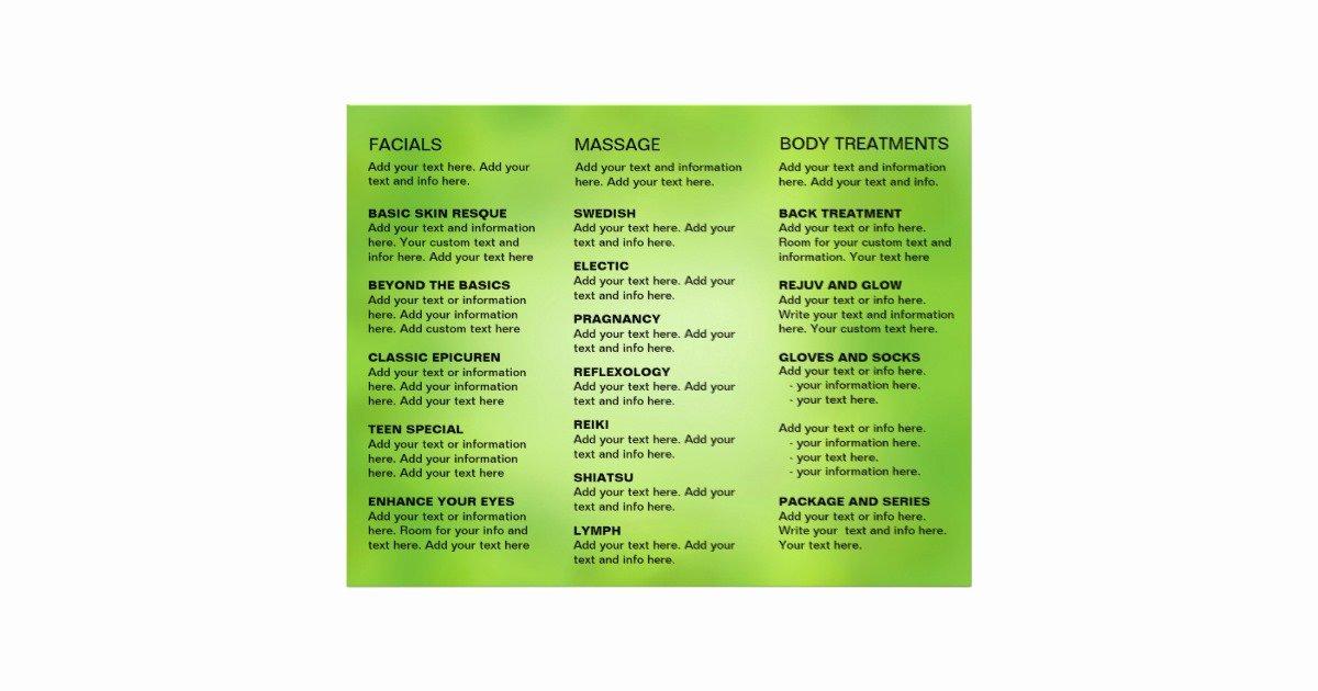 Spa Menu Template Free Elegant Spa Massage Salon Service Menu Brochure Template