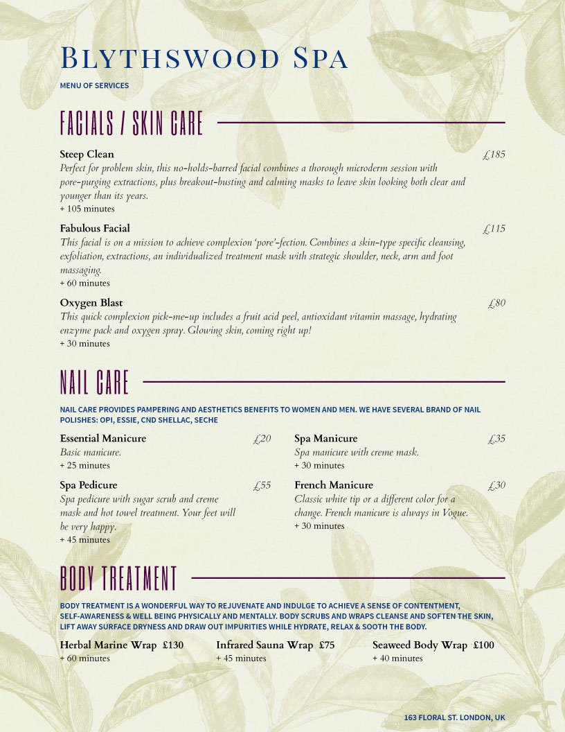Spa Menu Template Free Lovely Spa Menu Templates and Designs From Imenupro
