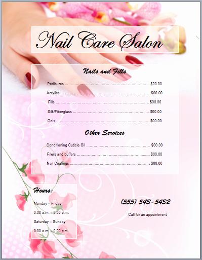 Spa Menu Template Free Luxury Nail Services Salon Price List Template