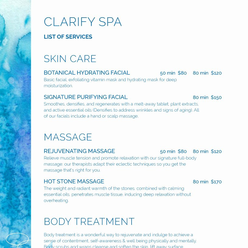 Spa Menu Template Free Luxury Spa Menu Templates and Designs From Imenupro