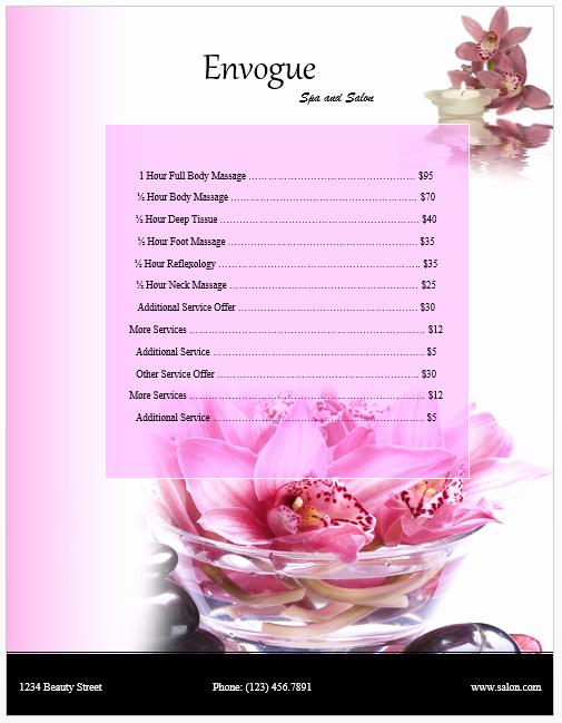Spa Menu Template Free Luxury Spa Price List Template Microsoft Word Templates