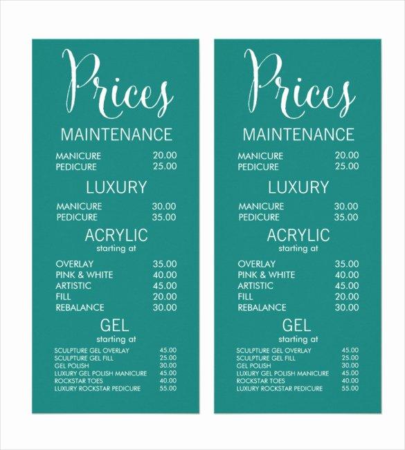 Spa Menu Template Free New 24 Price Menu Templates Free Sample Example format