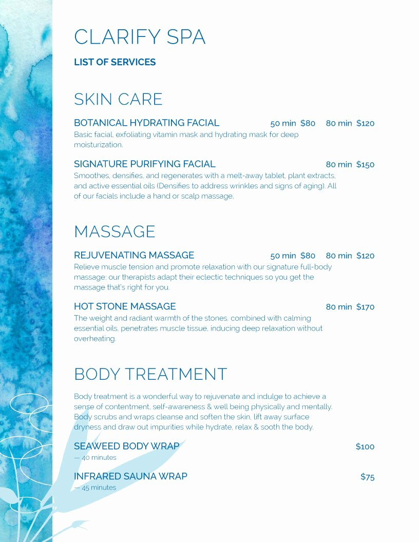 Spa Menu Template Free New Spa Menu Templates and Designs From Imenupro