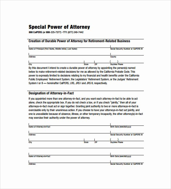 Special Power Of attorney Template Awesome Sample Special Power Of attorney form 8 Download Free