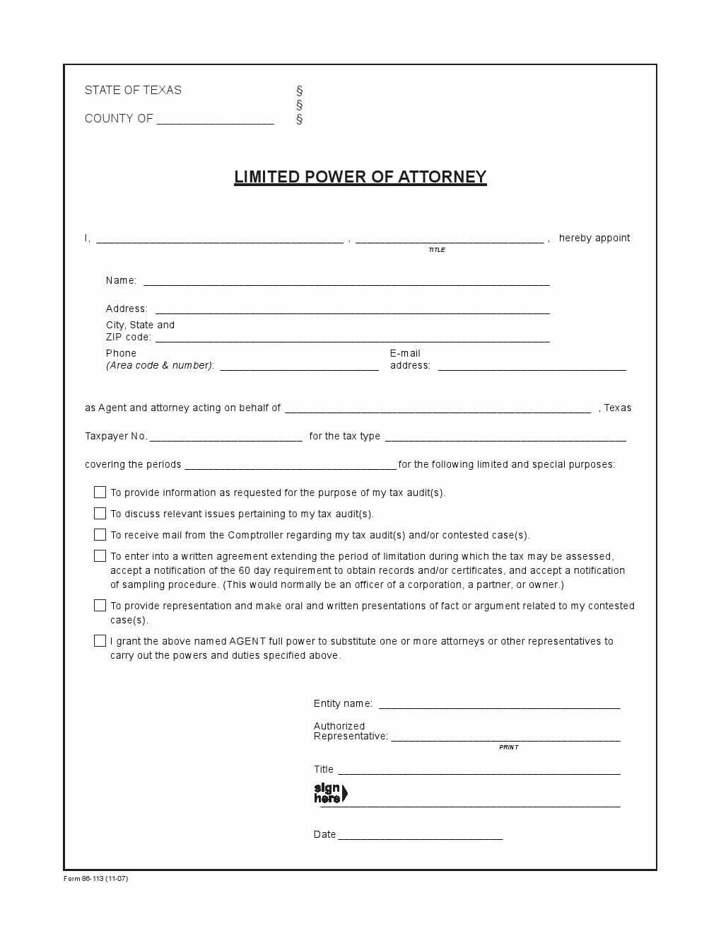 Special Power Of attorney Template Elegant Free Texas Power Of attorney forms Adobe Pdf
