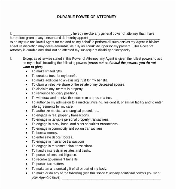 Special Power Of attorney Template Fresh Power Of attorney Templates – 10 Free Word Pdf Documents