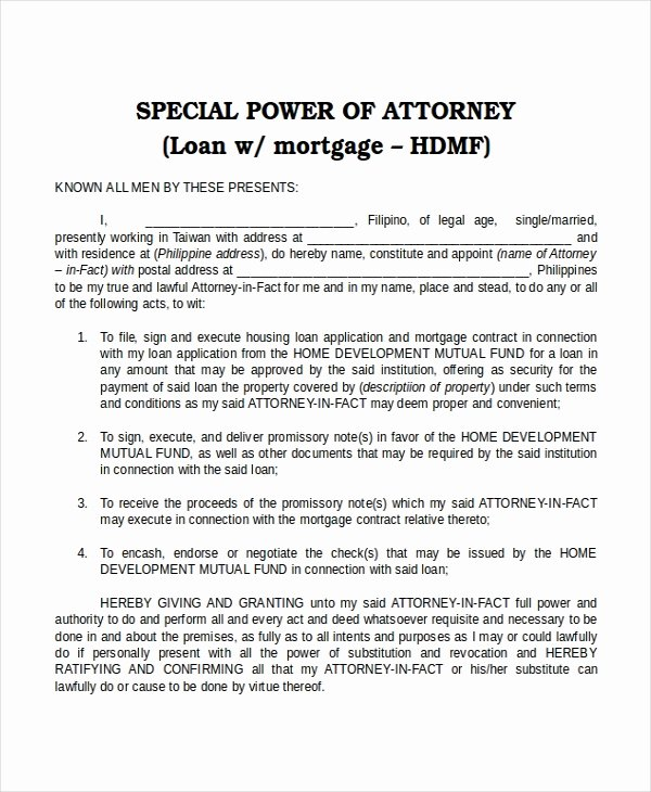 Special Power Of attorney Template Inspirational 16 Power Of attorney Templates Free Sample Example