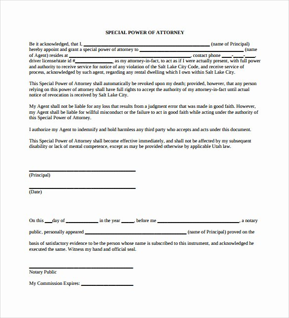 Special Power Of attorney Template Unique Sample Special Power Of attorney form 8 Download Free