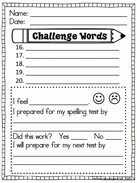 Spelling Test Template 15 Words Beautiful Free Spelling Test Template E Extra Degree