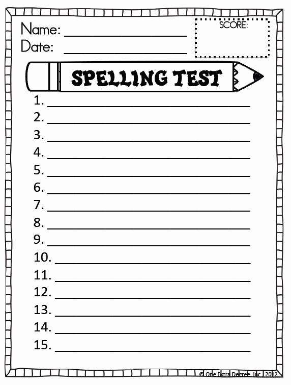 Spelling Test Template 15 Words Best Of Free Spelling Test Template E Extra Degree