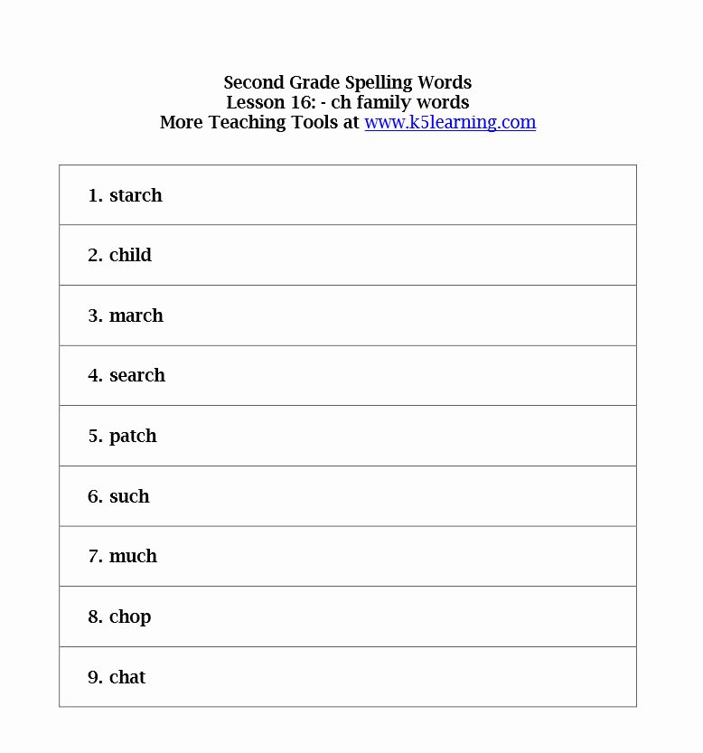 Spelling Test Template 15 Words Fresh Second Grade Spelling Words