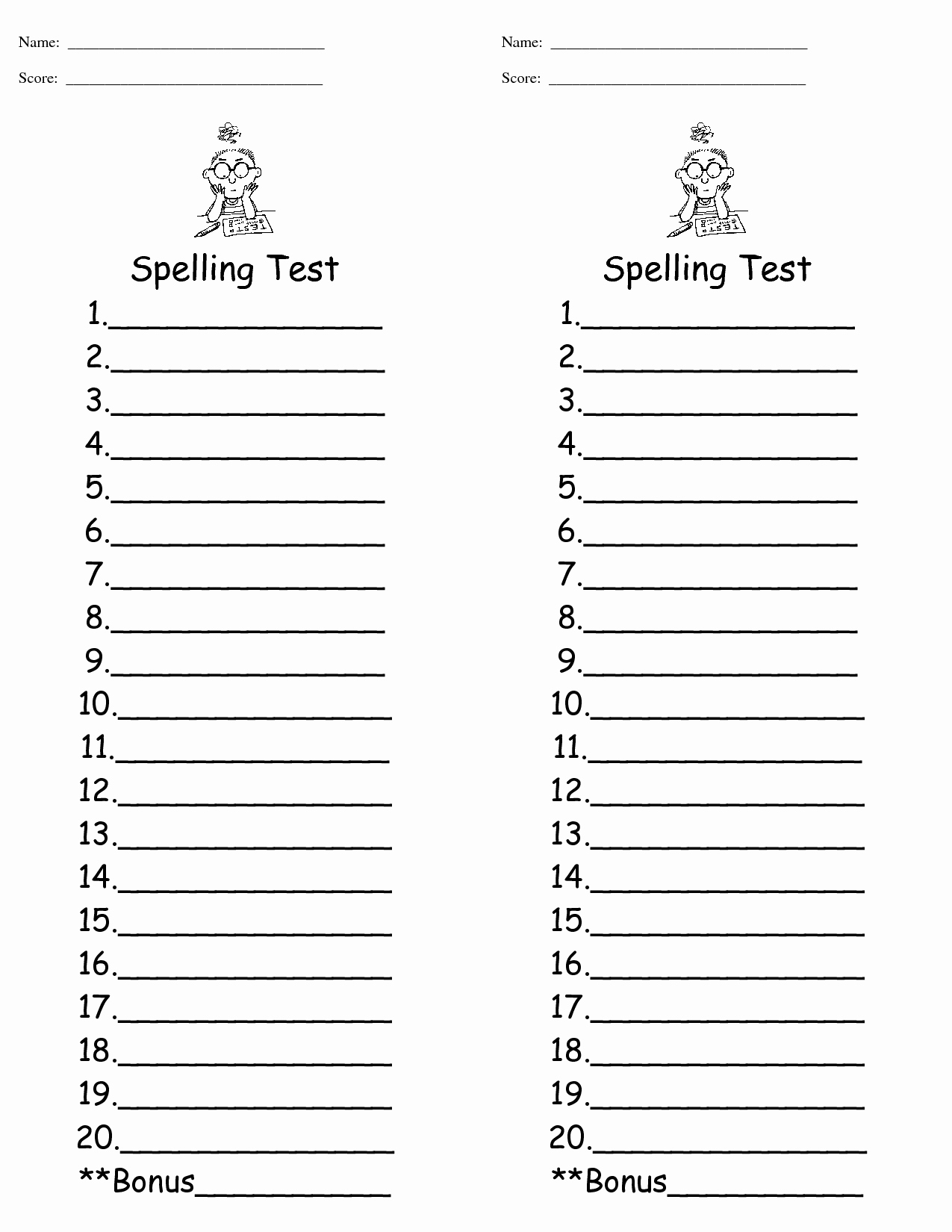 Spelling Test Template 15 Words Inspirational Spelling Test Template