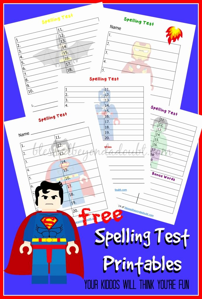 Spelling Test Template 15 Words New Free Lego Superhero Spelling Test Printables