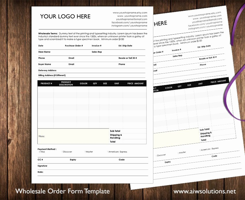 Sports Photography order form Template Best Of wholesale order form Stationery Templates Creative Market
