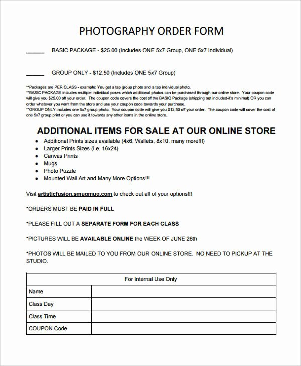 Sports Photography order form Template Inspirational 28 order forms In Pdf