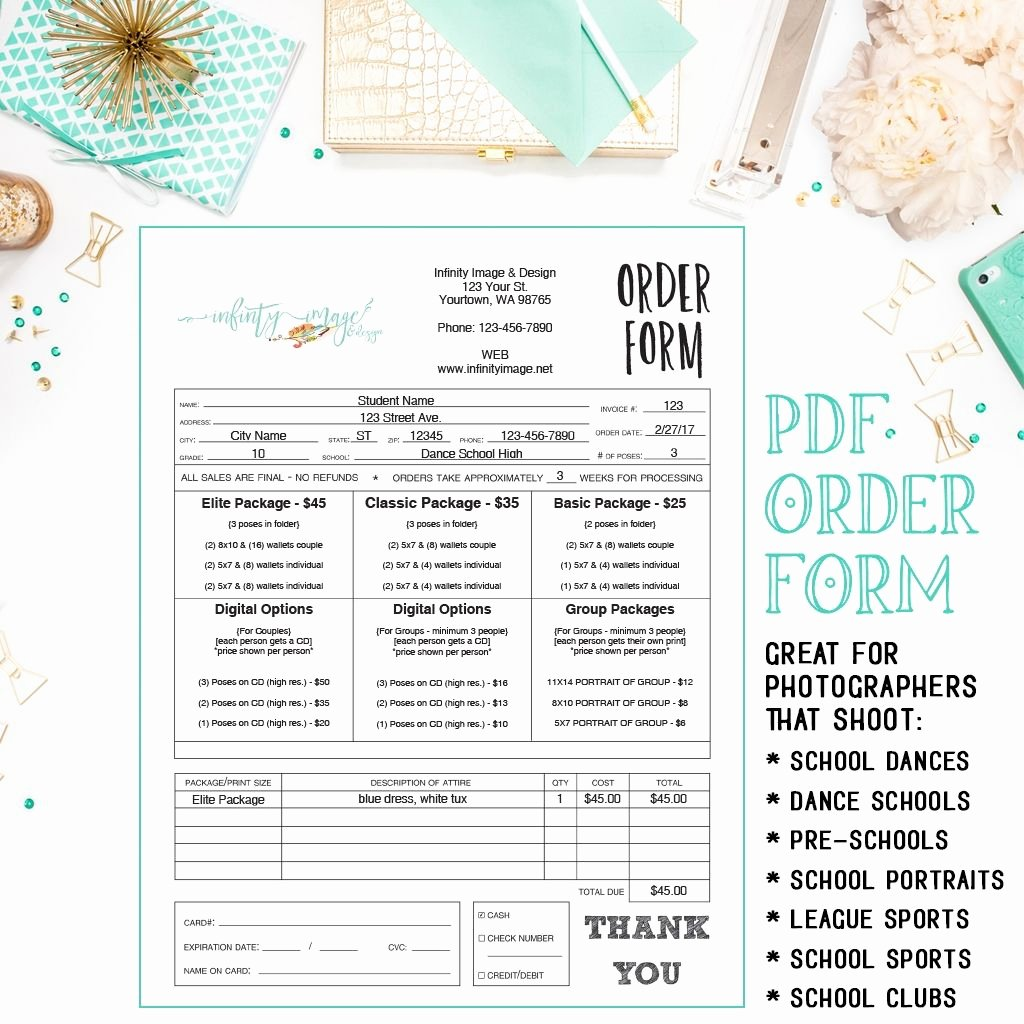 Sports Photography order form Template Lovely Dance Sports School Preschool Daycare Graphy