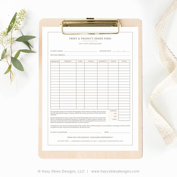 Sports Photography order form Template New Graphy order form Template