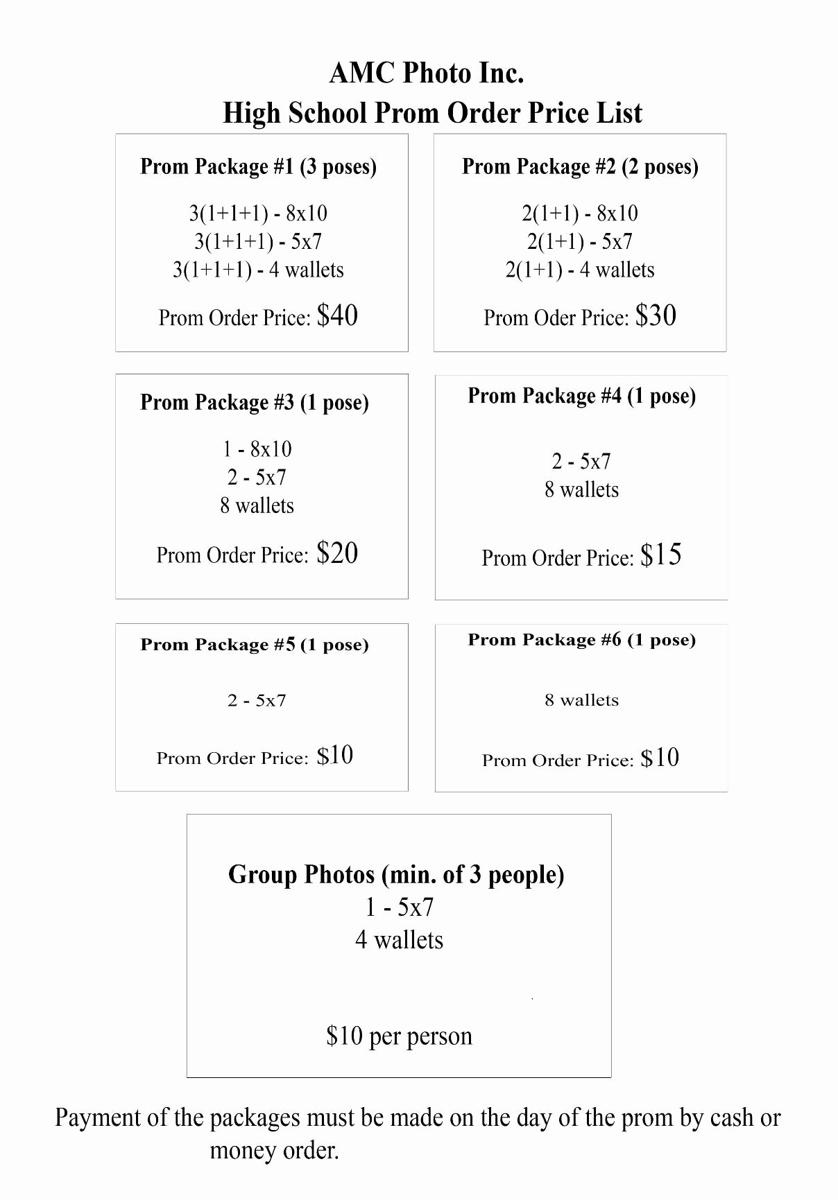 Sports Photography order form Template Unique Prom Pricing Pricing Menus