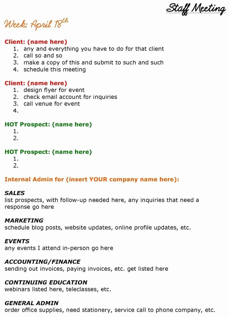 Staff Meeting Agenda Template Beautiful solopreneurs Need Staff Meetings too See This Staff