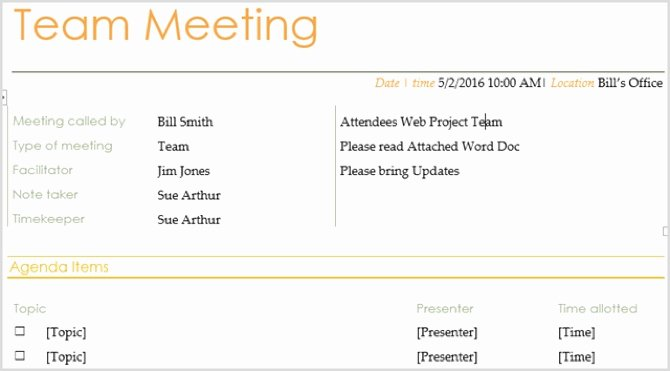 Staff Meeting Agenda Template Elegant 15 Free Meeting Agenda Templates for Microsoft Word