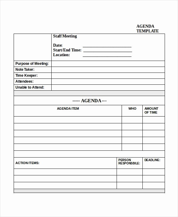 Staff Meeting Agenda Template Fresh Meeting Agenda Template 10 Free Word Pdf Documents