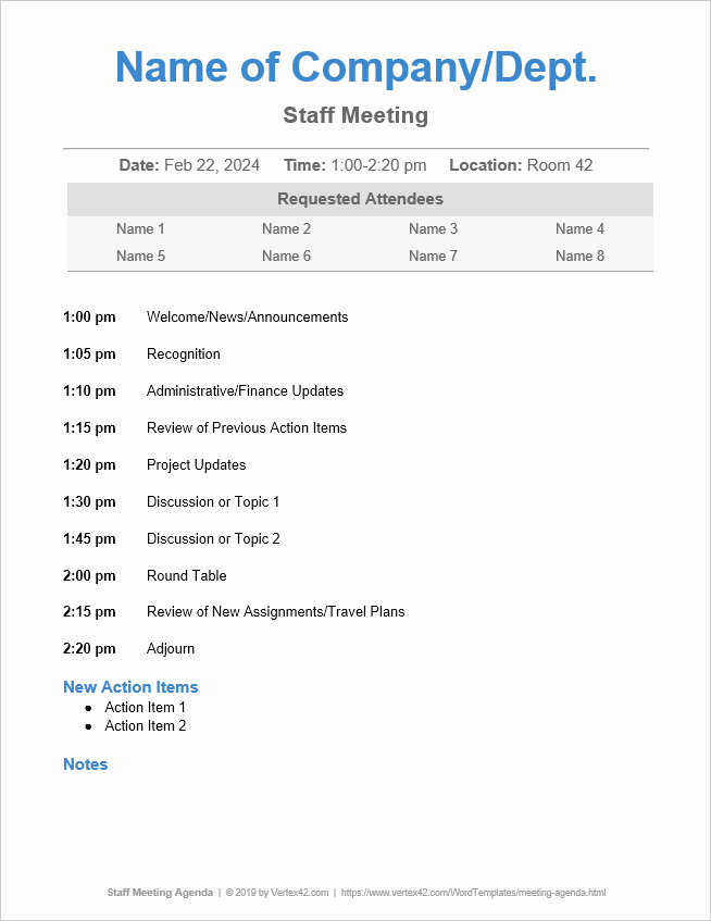 Staff Meeting Agenda Template Inspirational 10 Free Meeting Agenda Templates