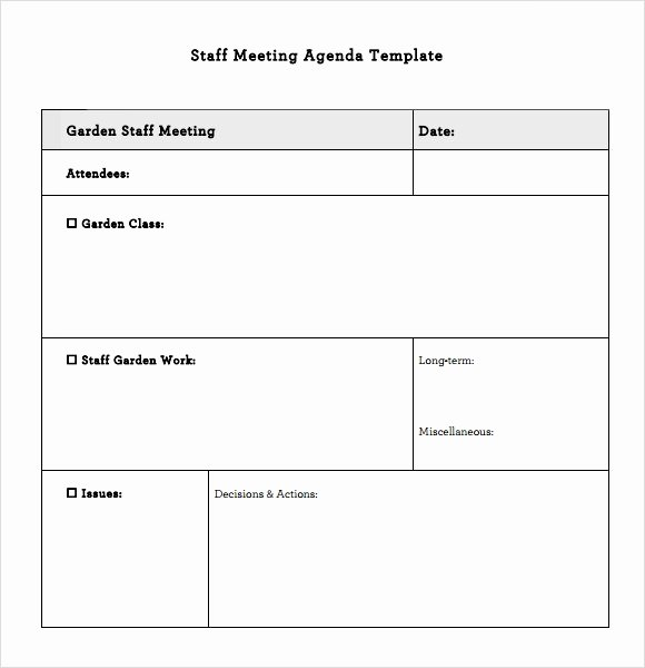 Staff Meeting Agenda Template Lovely Staff Meeting Agenda – 7 Free Samples Examples format