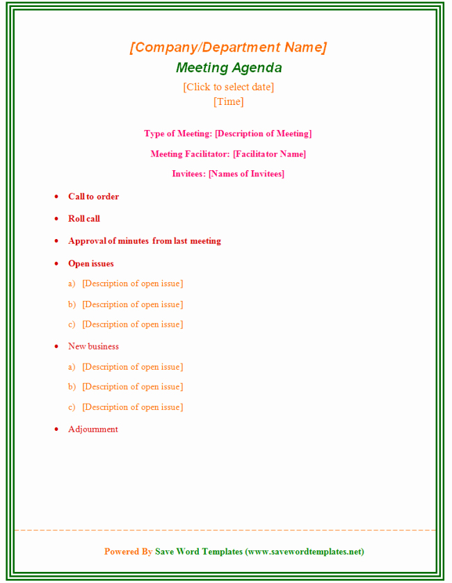 Staff Meeting Agenda Template Luxury Staff Meeting Agenda Template 39 Professional Agenda