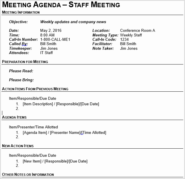 Staff Meeting Agenda Template Unique 15 Best Meeting Agenda Templates for Word