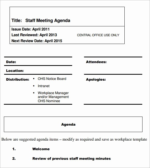 Staff Meeting Agenda Template Unique Sample Staff Meeting Agenda 4 Documents for Pdf