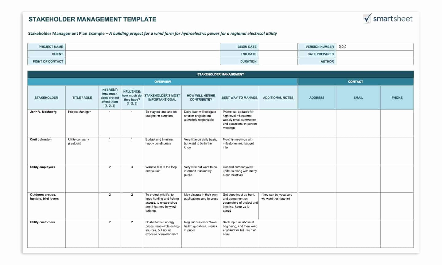 Stakeholder Analysis Template Excel Beautiful How to Create A Stakeholder Management Plan Smartsheet