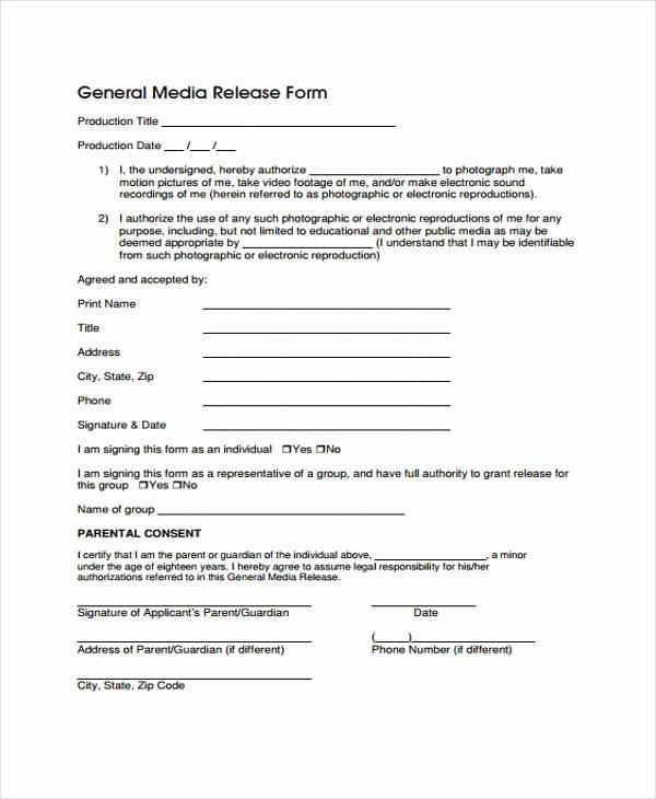 Standard Media Release form Template Beautiful Free 38 Release form Templates