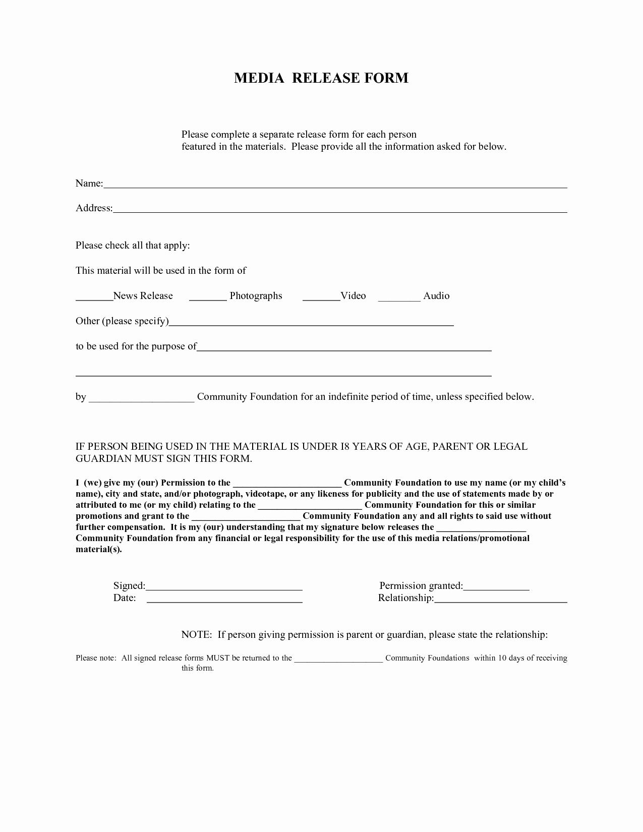 Standard Media Release form Template Beautiful Press Release form – Emmamcintyrephotography