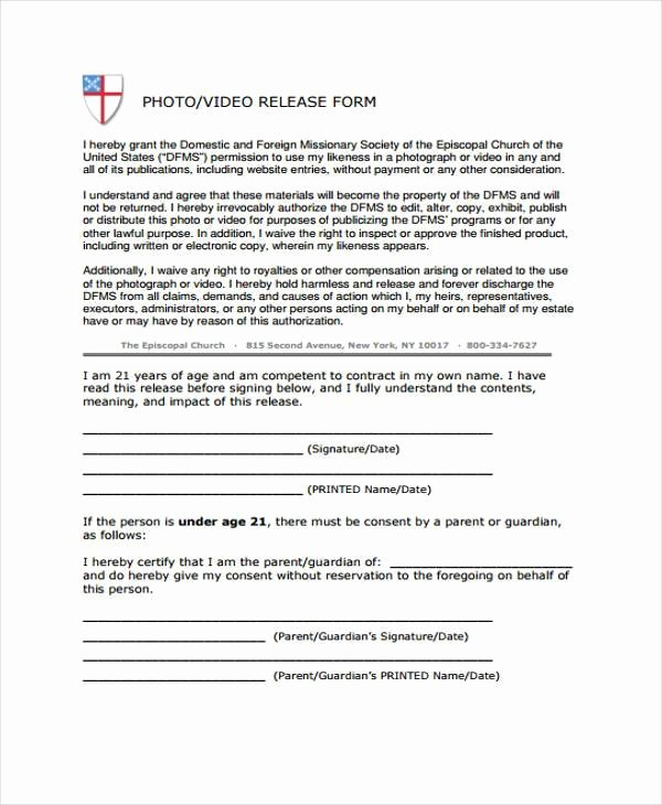 Standard Media Release form Template Best Of Free 38 Release form Templates