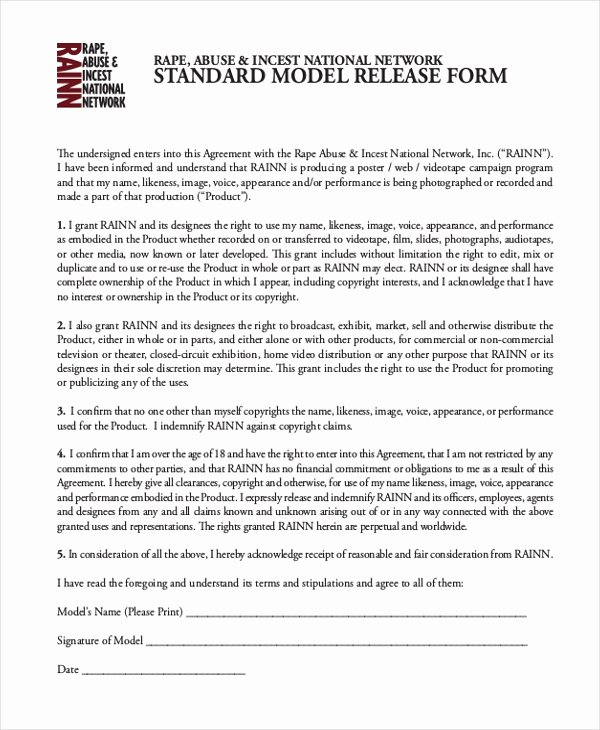 Standard Media Release form Template Fresh Free 11 Sample Model Release forms