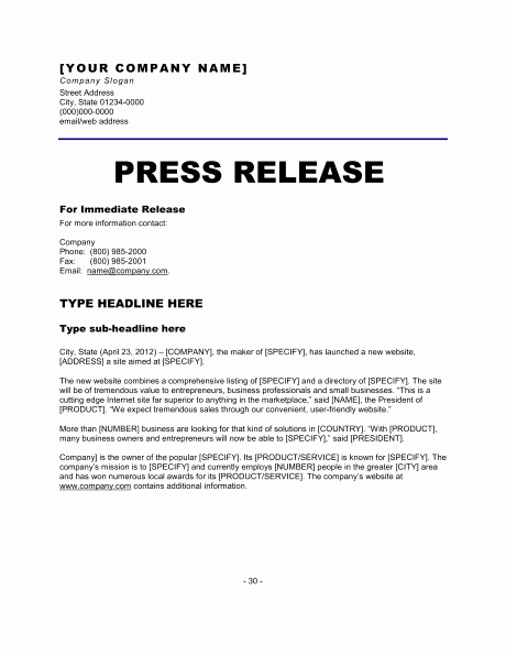 Standard Media Release form Template Lovely 6 Press Release Templates Excel Pdf formats