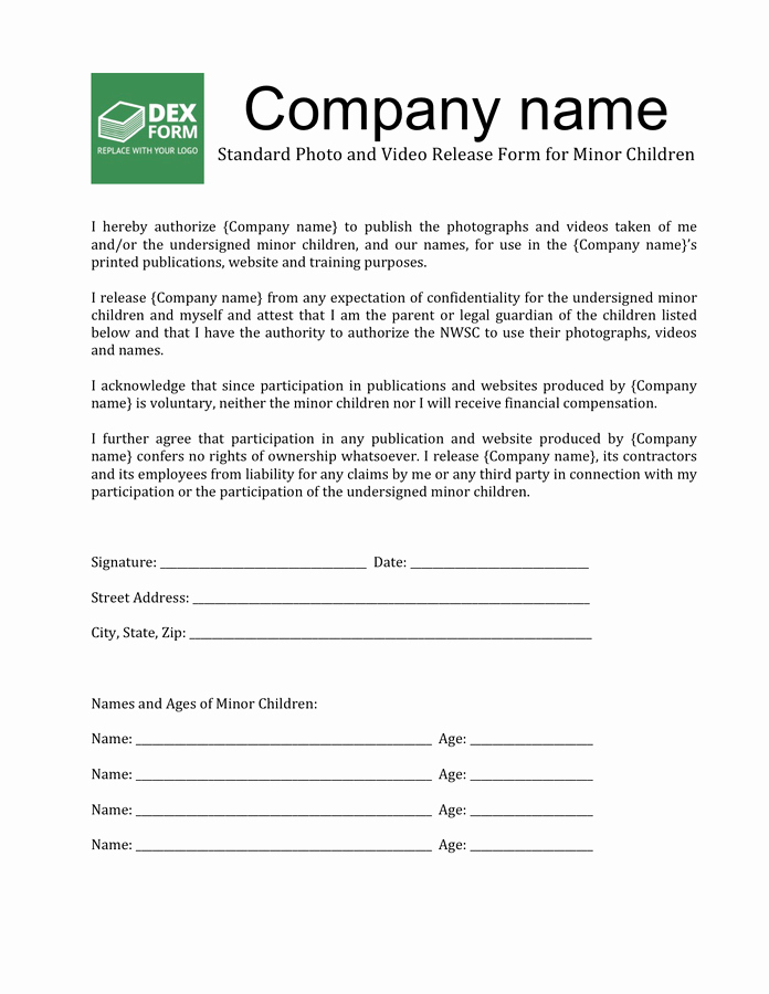 Standard Media Release form Template Unique Release form Free Documents for Pdf Word