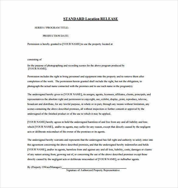 Standard Media Release form Template Unique Sample Release form 9 Download Documents In Pdf