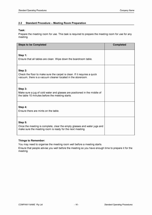 Standard Operating Procedure Templates Lovely Standard Operating Procedure Template Download