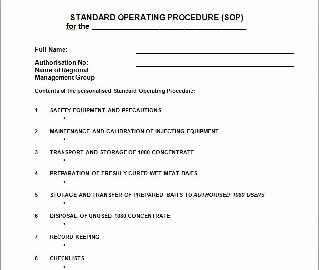 Standard Operating Procedure Templates New 37 Best Standard Operating Procedure sop Templates