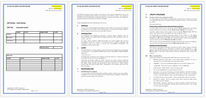 Standard Operating Procedure Templates New Standard Operating Procedure sop Templates for Word