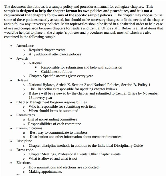 Standard Operating Procedures Manual Template Awesome Sample Procedure Manuals 8 Documents In Pdf Word