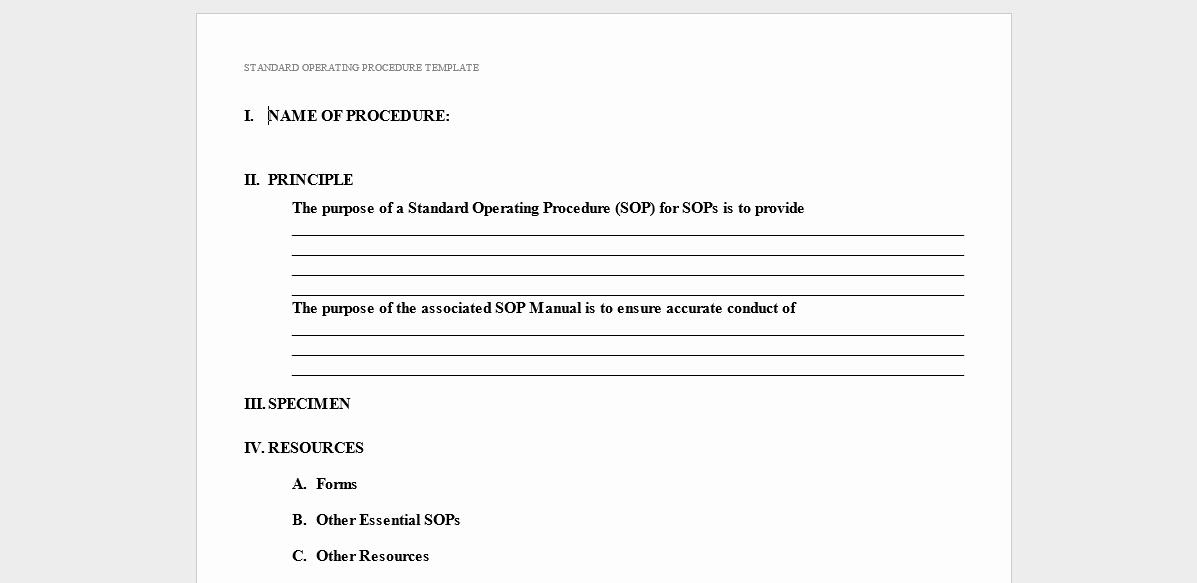 Standard Operating Procedures Manual Template Elegant 20 Free sop Templates to Make Recording Processes Quick