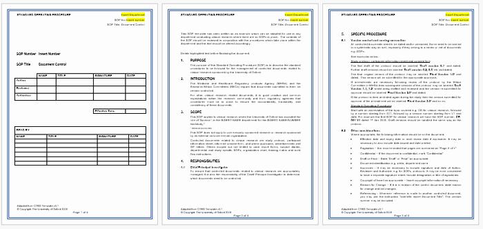 Standard Operating Procedures Manual Template New Standard Operating Procedure sop Templates for Word