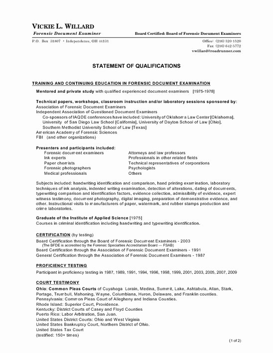 Statement Of Qualifications Template Free Awesome Personal Statement Qualifications Template How to